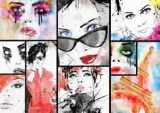 Härlig collage royaltyfri illustrationer