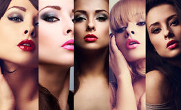 Härlig collage av emotionella kvinnor för sexig ljus makeup med varmt arkivbild