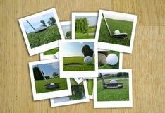 Härlig collage av golffoto i olikt format Arkivbilder