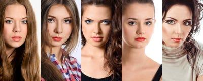 Härlig collage av ljusa makeupkvinnor Royaltyfri Foto