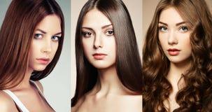 Härlig collage, framsidor av kvinnor Royaltyfri Bild
