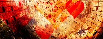 Härlig collage med hjärtor och musikanmärkningar som symbolizining förälskelsen till musik fotografering för bildbyråer