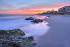 härlig costa del solenoid solnedgång royaltyfri foto