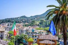 Härlig dagsljussikt till den Santa Margherita Ligure staden Royaltyfri Fotografi