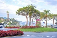 Härlig dagsljussikt till den Santa Margherita Ligure staden Arkivbild