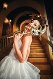 Härlig dam i en aftonklänning på en Venetian boll royaltyfria bilder