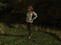 Härlig dam i skogen Arkivfoto