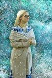 Härlig dam i vinterträna arkivfoton
