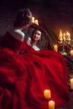 Härlig dam med stearinljus Royaltyfria Foton