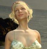 Härlig dam på stranden royaltyfri illustrationer