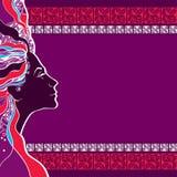 Härlig damkontur på en mosaikbakgrund Vektor Illustrationer