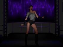 Härlig dans för ung kvinna på etapp Arkivfoton