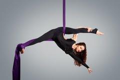 Härlig dansare på flyg- silke, flyg- förvridning Royaltyfri Fotografi