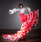 härlig dansareklänningflamenco Arkivbilder