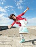 Härlig dansflicka i rörelse Arkivbilder