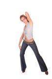 härlig dansmodekvinna Arkivbild