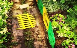 Härlig del av den blom- trädgården med det dekorativa staketet Royaltyfri Fotografi