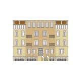 Härlig detaljerad linjär cityscapesamling med radhus Liten stadgata med victorianbyggnadsfasader Royaltyfria Bilder