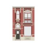 Härlig detaljerad linjär cityscapesamling med radhus Liten stadgata med victorianbyggnadsfasader Arkivfoton