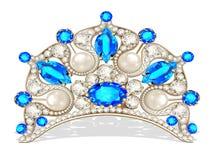 Härlig diadem som är kvinnlig med pärlan royaltyfri illustrationer
