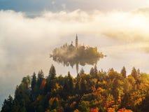 Härlig dimmig soluppgång den blödde sjön på höst Royaltyfri Foto