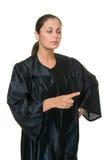 härlig domare som pekar kvinnan Royaltyfri Bild