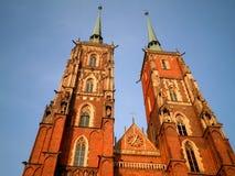 Härlig domkyrka i Wroclaw Arkivbilder