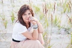 härlig drömma flicka Fotografering för Bildbyråer