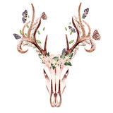 Härlig dragit blom- för vattenfärg hand med hjortar, fjärilen och sidor Arkivfoto