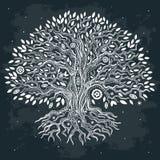Härlig dragit träd för tappning hand av liv Arkivfoto