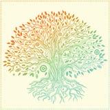 Härlig dragit träd för tappning hand av liv Royaltyfri Foto