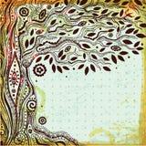 Härlig dragit träd för tappning hand av liv Arkivfoton