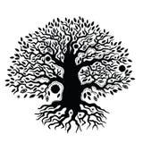 Härlig dragit träd för tappning hand av liv Arkivbilder