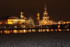 Härlig Dresden Tyskland på natten Royaltyfri Fotografi