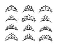 Härlig drottningtiarauppsättning stock illustrationer