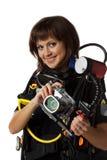 härlig dykarescubakvinna Fotografering för Bildbyråer