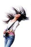 härlig electro gitarrkvinna Royaltyfri Foto
