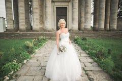 Härlig elegant brud med den perfekta bröllopsklänningen och bukett som poserar nära gammal slott Royaltyfri Fotografi