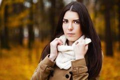 Härlig elegant kvinna. höst fotografering för bildbyråer