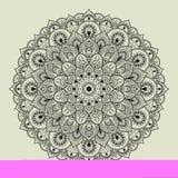 Härlig etnisk mandala med en blom- modell Arkivfoton