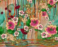 Härlig färgrik bakgrundsdesign med blommor Royaltyfri Bild