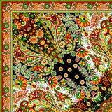 Härlig färgrik design för textiltryckhalsduk Arkivbilder