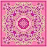 Härlig färgrik design för textiltryckhalsduk Arkivbild
