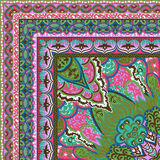 Härlig färgrik design för textiltryckhalsduk Royaltyfria Bilder
