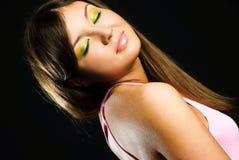 härlig färgrik makeupmodell Arkivfoton