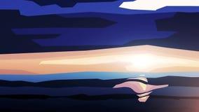 Härlig färgrik solnedgång ovanför havet i minimalismstil Mörkt - blå himmel och solen nära horisonten som är minsta stock illustrationer