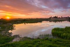 Härlig färgrik solnedgång på countrisidesjön Royaltyfria Bilder