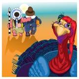 Härlig färgrik tecknad film av kalkonfågeln för lycklig tacksägelseberöm Royaltyfria Bilder
