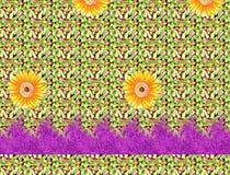 Härlig färgrik textiltryckdesign med blomman och modellen Arkivfoto