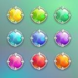 Härlig färgrik uppsättning för knappar för tecknad filmkristallrunda royaltyfri illustrationer